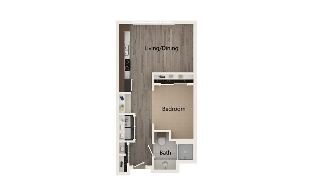 A - Studio floorplan layout with 1 bath and 540 square feet.