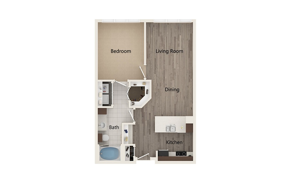 C - 1 bedroom floorplan layout with 1 bath and 695 square feet.