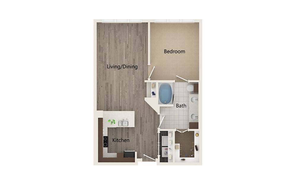 D - 1 bedroom floorplan layout with 1 bath and 732 square feet.