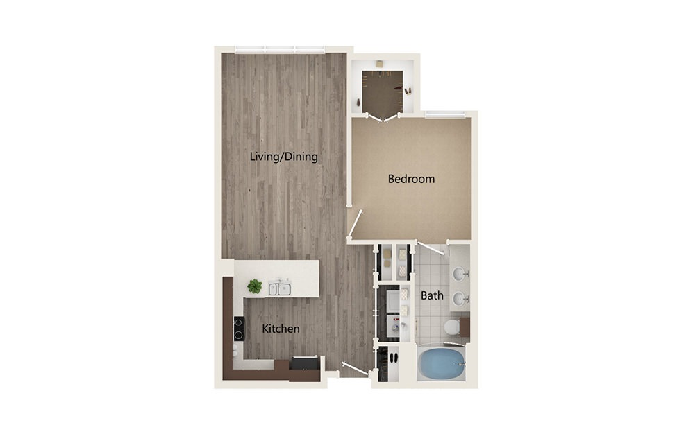 E - 1 bedroom floorplan layout with 1 bath and 768 square feet.