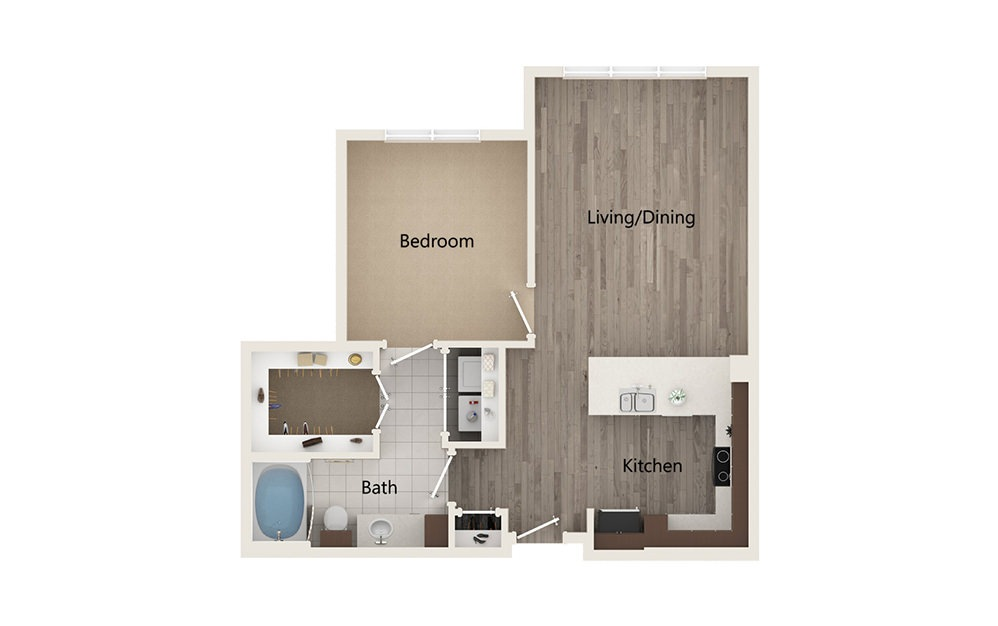 F - 1 bedroom floorplan layout with 1 bath and 789 square feet.