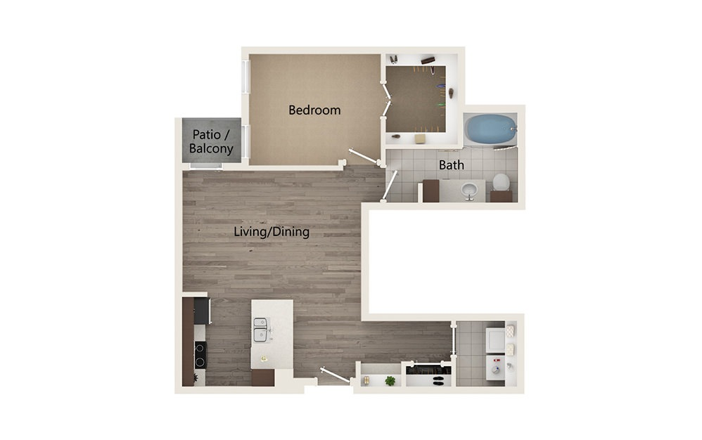 G - 1 bedroom floorplan layout with 1 bath and 826 square feet.