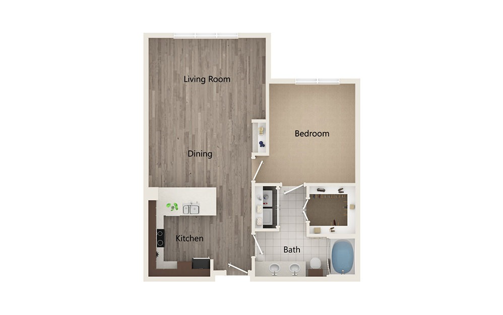 H - 1 bedroom floorplan layout with 1 bath and 830 square feet.