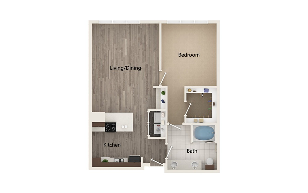 I - 1 bedroom floorplan layout with 1 bath and 882 square feet.