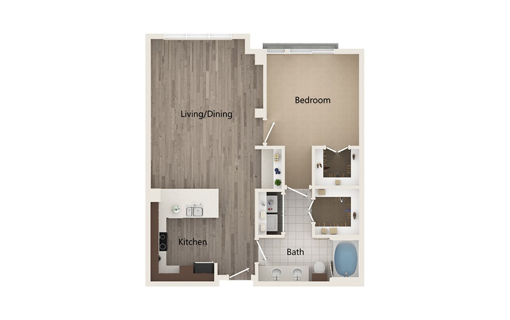 J - 1 bedroom floorplan layout with 1 bath and 882 square feet.