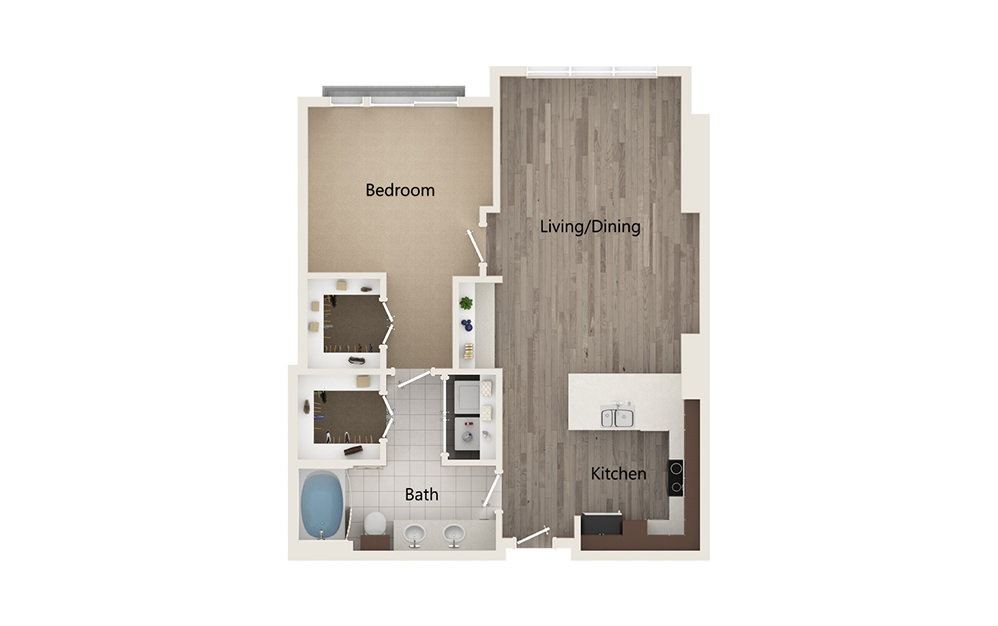 K - 1 bedroom floorplan layout with 1 bath and 894 square feet.