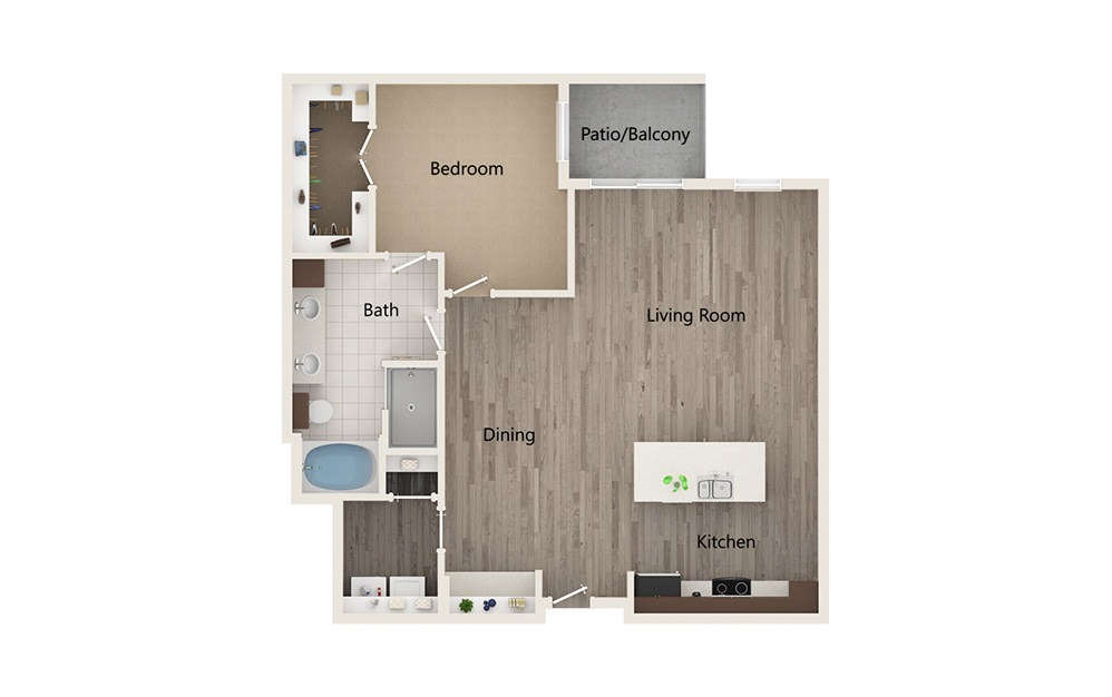 L - 1 bedroom floorplan layout with 1 bath and 1011 square feet.