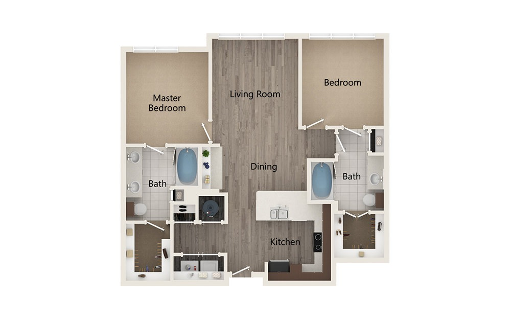 M - 2 bedroom floorplan layout with 2 baths and 1097 square feet.