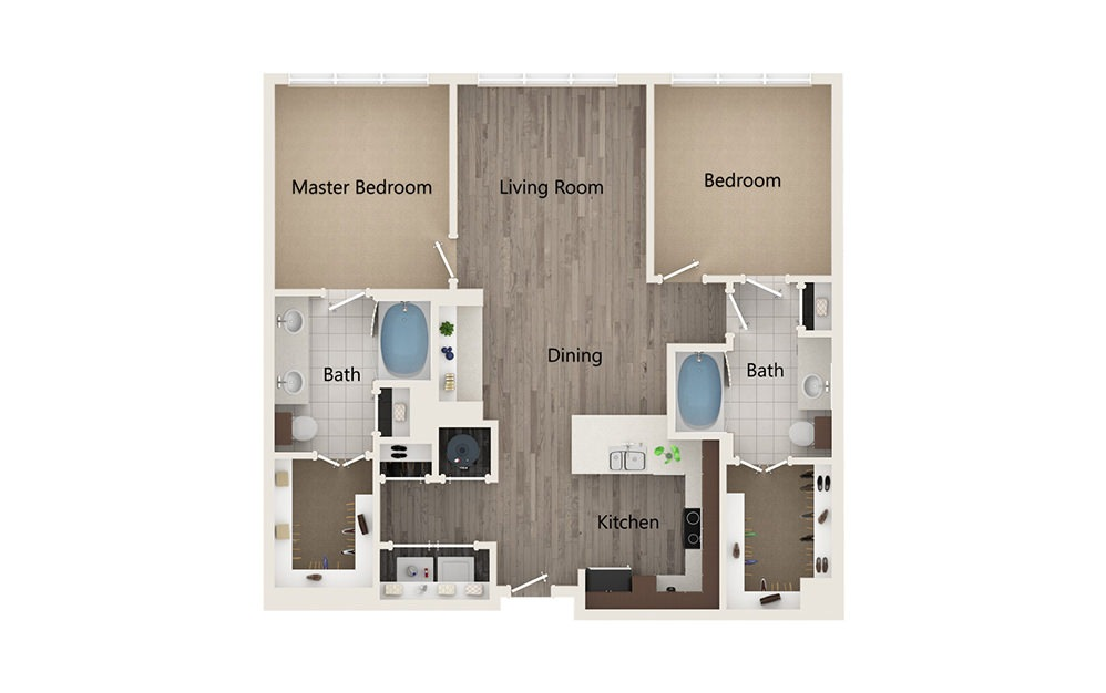 N - 2 bedroom floorplan layout with 2 baths and 1010 square feet.