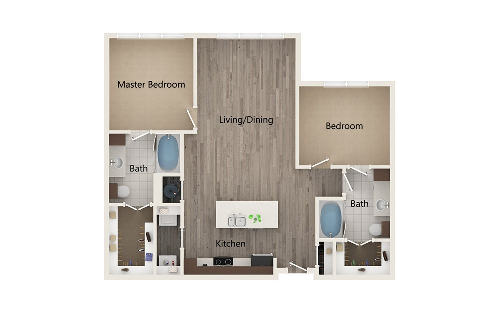 O - 2 bedroom floorplan layout with 2 baths and 1130 square feet.