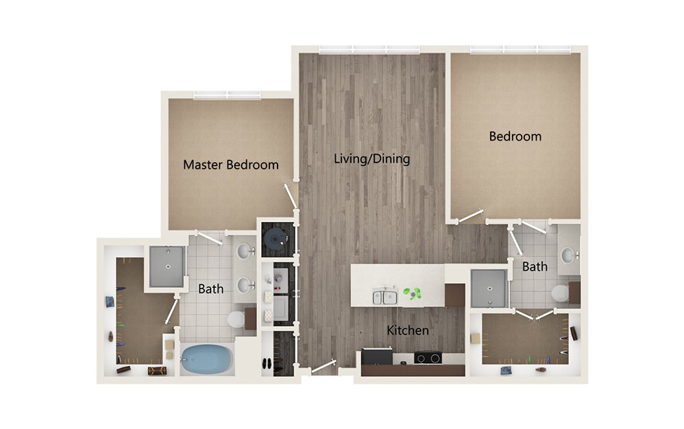 P - 2 bedroom floorplan layout with 2 baths and 1145 square feet.