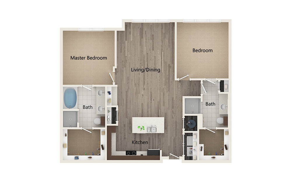 Q - 2 bedroom floorplan layout with 2 baths and 1223 square feet.