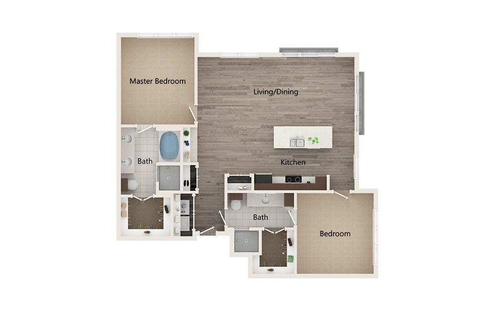 R - 2 bedroom floorplan layout with 2 baths and 1335 square feet.