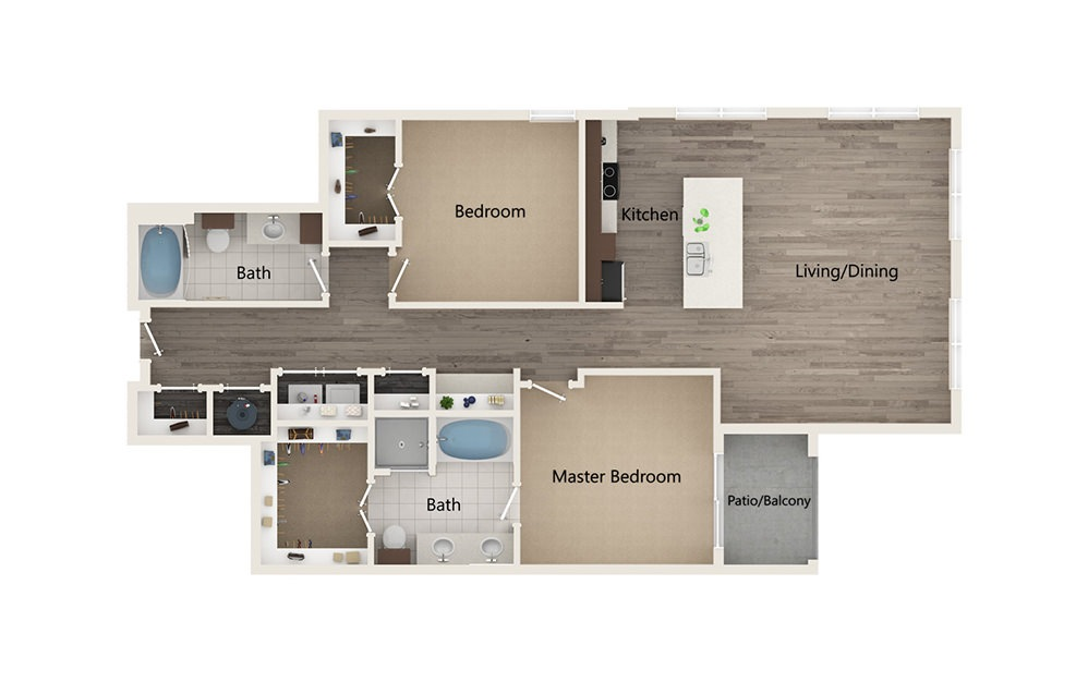 S - 2 bedroom floorplan layout with 2 baths and 1391 square feet.