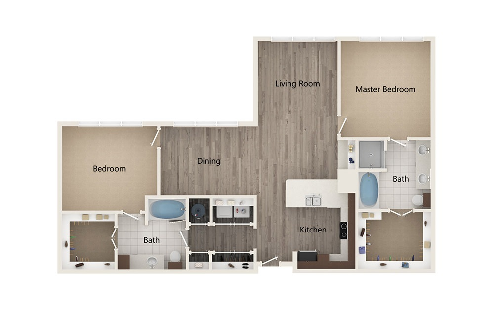 T - 2 bedroom floorplan layout with 2 baths and 1337 square feet.