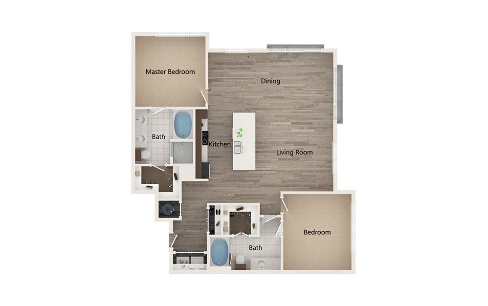 U - 2 bedroom floorplan layout with 2 baths and 1308 square feet.